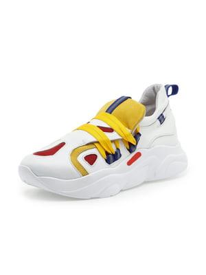 Кроссовки белые с контрастной отделкой | 5048619