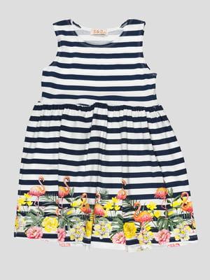 Сукня в смужку з принтом | 5073439