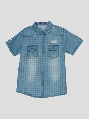 Рубашка светло-синяя в принт | 5073445