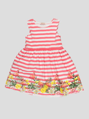 Сукня в смужку з принтом | 5073438