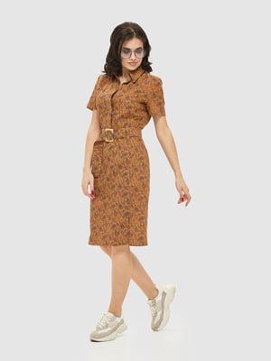 Сукня коричнева в принт | 5075487