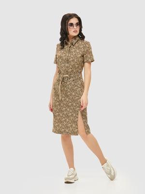 Сукня кольору хакі в принт | 5075488