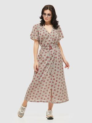 Сукня сіра в принт | 5075493