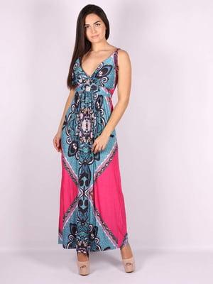 Платье розово-голубое в принт | 5079907
