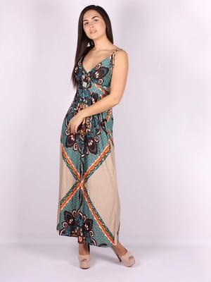 Платье бежево-зеленое в принт | 5079908