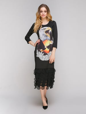 Платье черное с принтом | 4716473