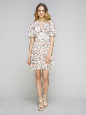 Платье белое в цветочный принт | 5080251