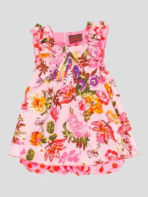 Платье розовое в цветочный принт   4870800