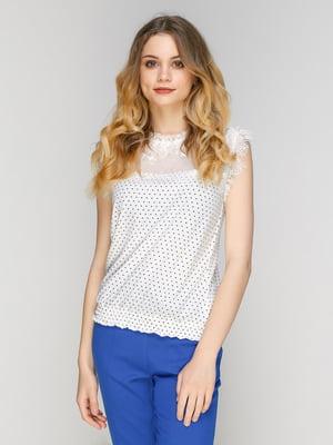 Блуза молочного кольору в горошок | 5077724