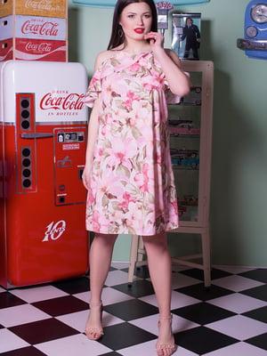 Платье цвета пудры в цветочный принт | 5081963