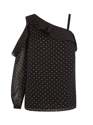 Блуза чорна в горошок | 5074038