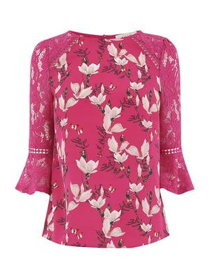 Блуза розовая в принт | 5074178