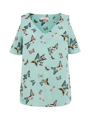 Блуза мятного цвета в принт | 5074183