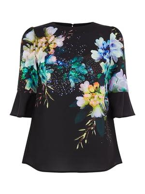Блуза черная в принт | 5074230
