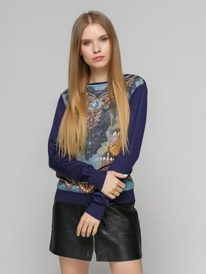 Джемпер фіолетовий з принтом | 5026116