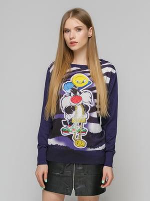Джемпер фіолетовий з принтом | 5026120