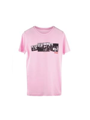 Футболка рожева з принтом | 5090972