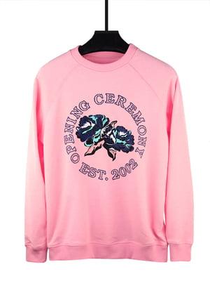 Світшот рожевий з принтом | 5091036