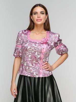 Блуза фрезового цвета в принт | 5086018