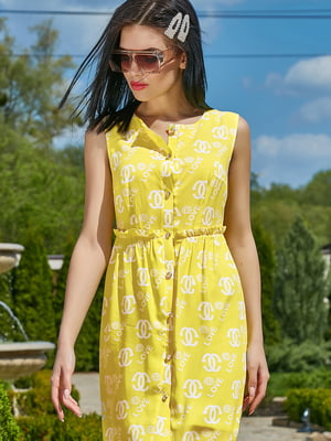 Платье желтое в принт | 5091633