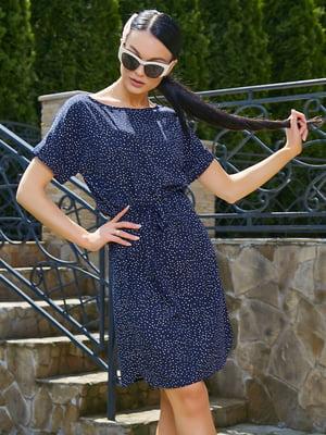 Платье темно-синее в принт | 5091658