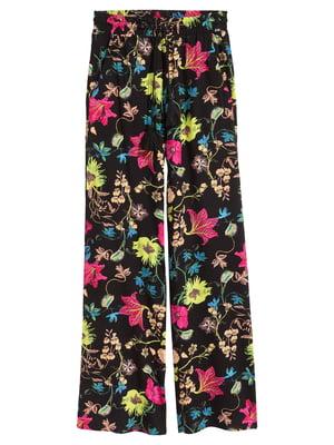 Штани чорні з квітковим принтом | 5072864