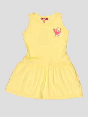 Сукня жовта з принтом | 5082223