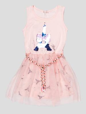 Сукня рожева з принтом | 5089726