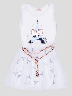 Сукня біла з принтом | 5089725