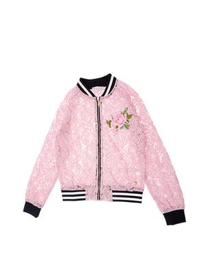 Бомбер розовый в принт | 5096608