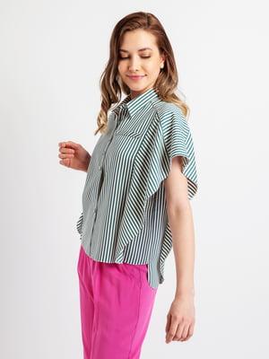 Сорочка біло-зелена смугаста | 5096522