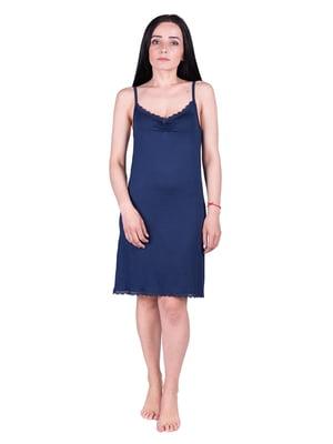 Рубашка ночная темно-синяя | 5098939