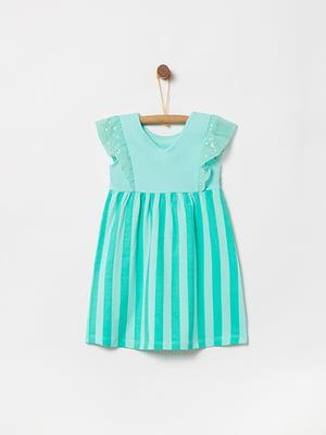 Сукня бірюзова в смужку | 5075215