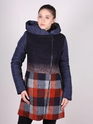 Пальто темно-синє в клітку | 5099900