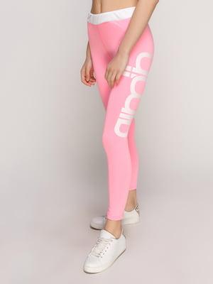 Леггинсы розовые с надписью | 5089733