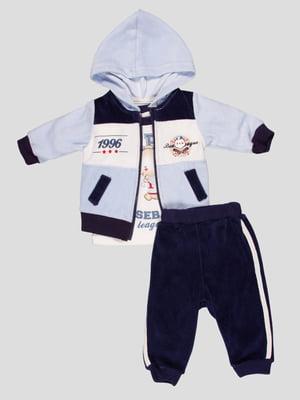 Комплект велюровий: лонгслів, толстовка і штани | 5089935