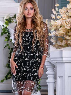 Сукня чорна з квітковою вишивкою - Seventeen - 5100647