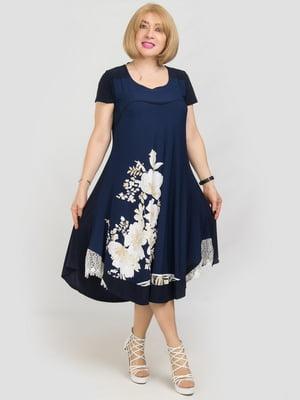 Сукня синя з квітковим принтом | 5101214