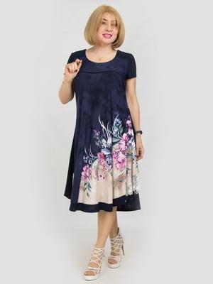 Сукня синя з квітковим принтом | 5101215