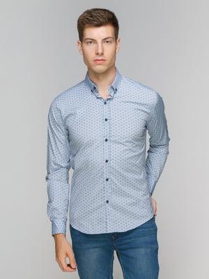 Рубашка голубая в принт | 5086436