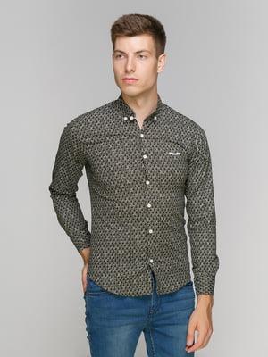 Рубашка темно-коричневая в принт | 5086445