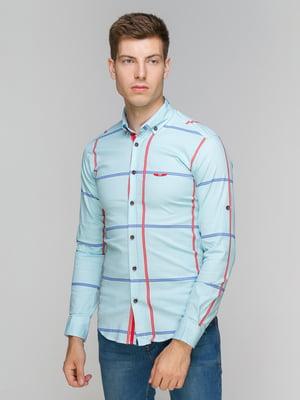 Рубашка голубая в клетку | 5086448