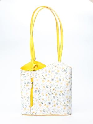 Рюкзак-сумка бело-желтого цвета с цветочным принтом | 5096780