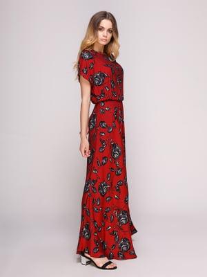Сукня червона в принт | 5092114