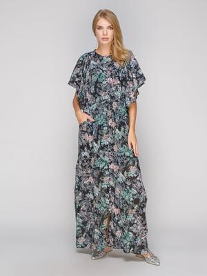 Платье черное в цветочный принт | 5094191