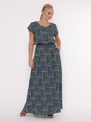 Сукня синя в принт | 5103790