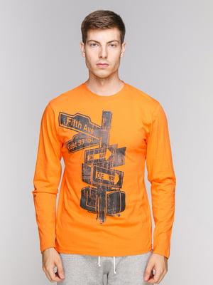 Лонгслів помаранчевий з принтом | 5082289