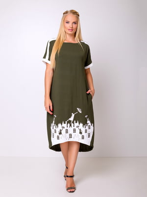 Платье цвета хаки с аппликацией | 5104772