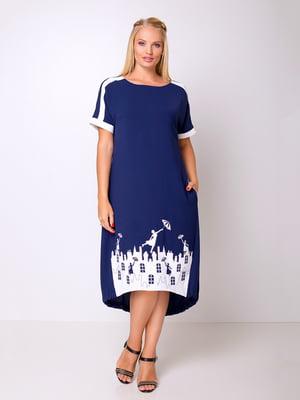 Сукня синя з аплікацією | 5104773