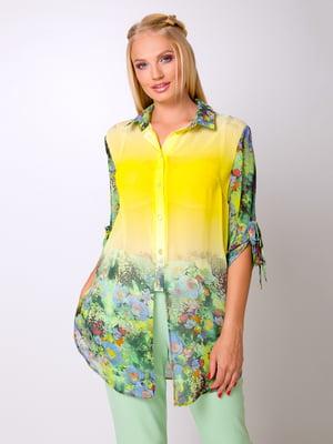 Блуза желтая с цветочным принтом | 5104787